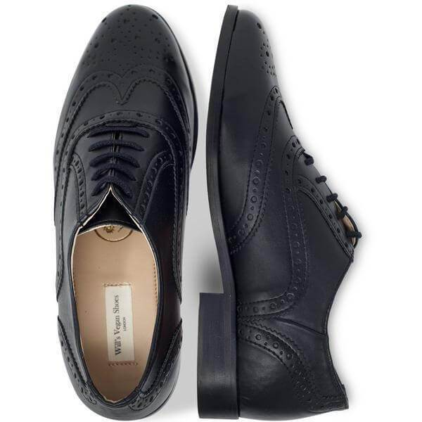 Pair of Women's Oxford Brogues black vegan shoes from above
