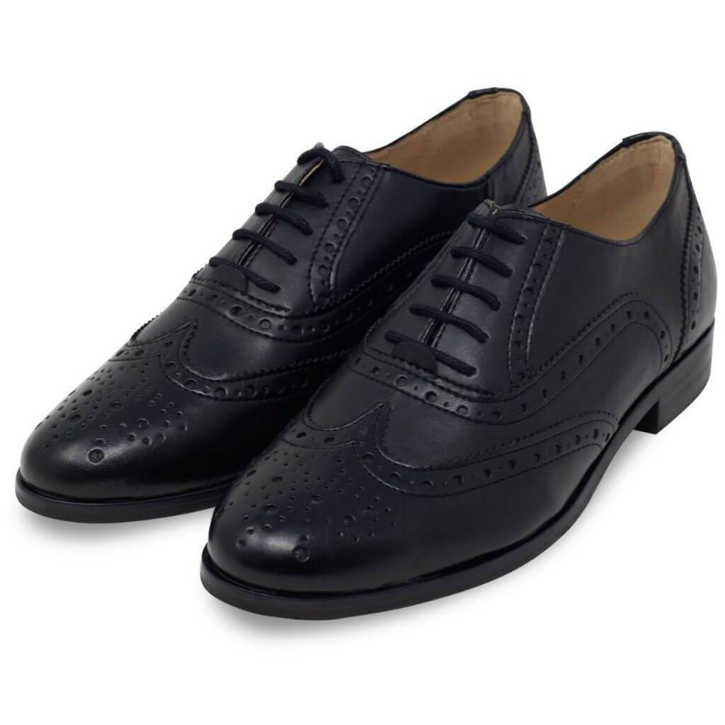 Pair of Women's Oxford Brogues black vegan shoes