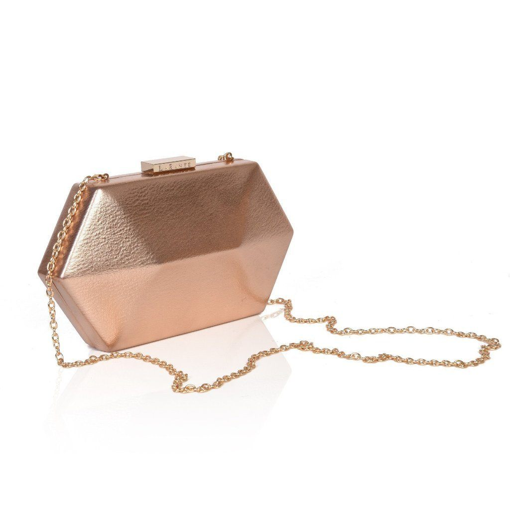 Rose Gold Royale Vegan Clutch Bag with detachable strap by Labante at ALIVE Boutique