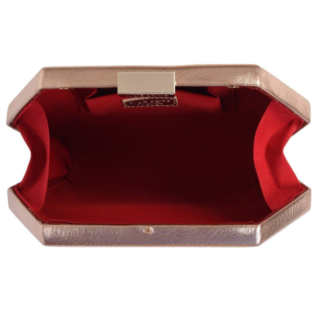 Rose Gold Royale Vegan Clutch Bag picture of the red inside by Labante at ALIVE Boutique
