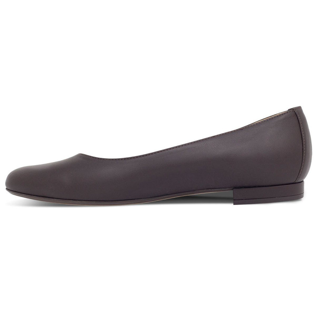 Vegan Ballerina Flats in dark brown by wills vegan shoes from the left at ALIVE