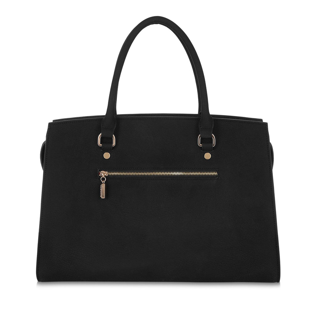 Vegan Carryall Handbag Aricia in Black by Labante from behind
