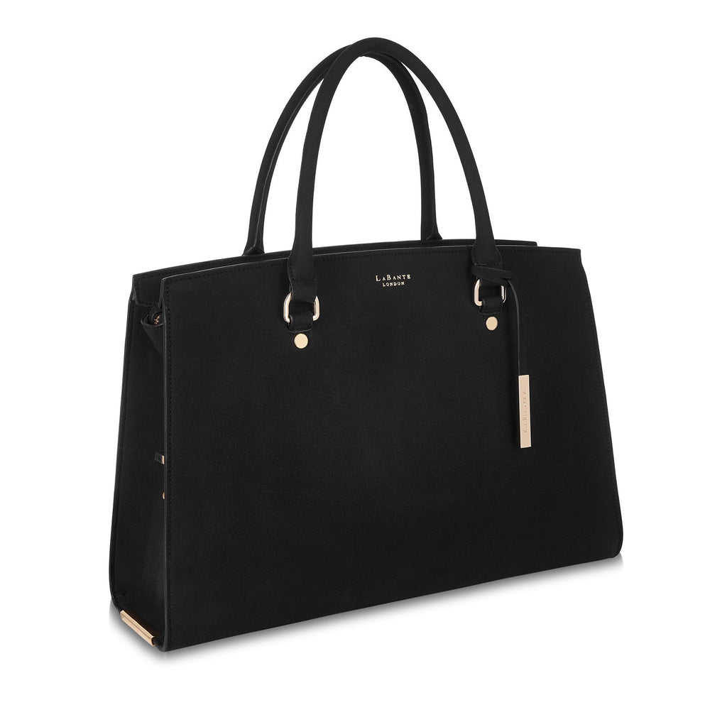 Vegan Carryall Handbag Aricia in Black by Labante from the side