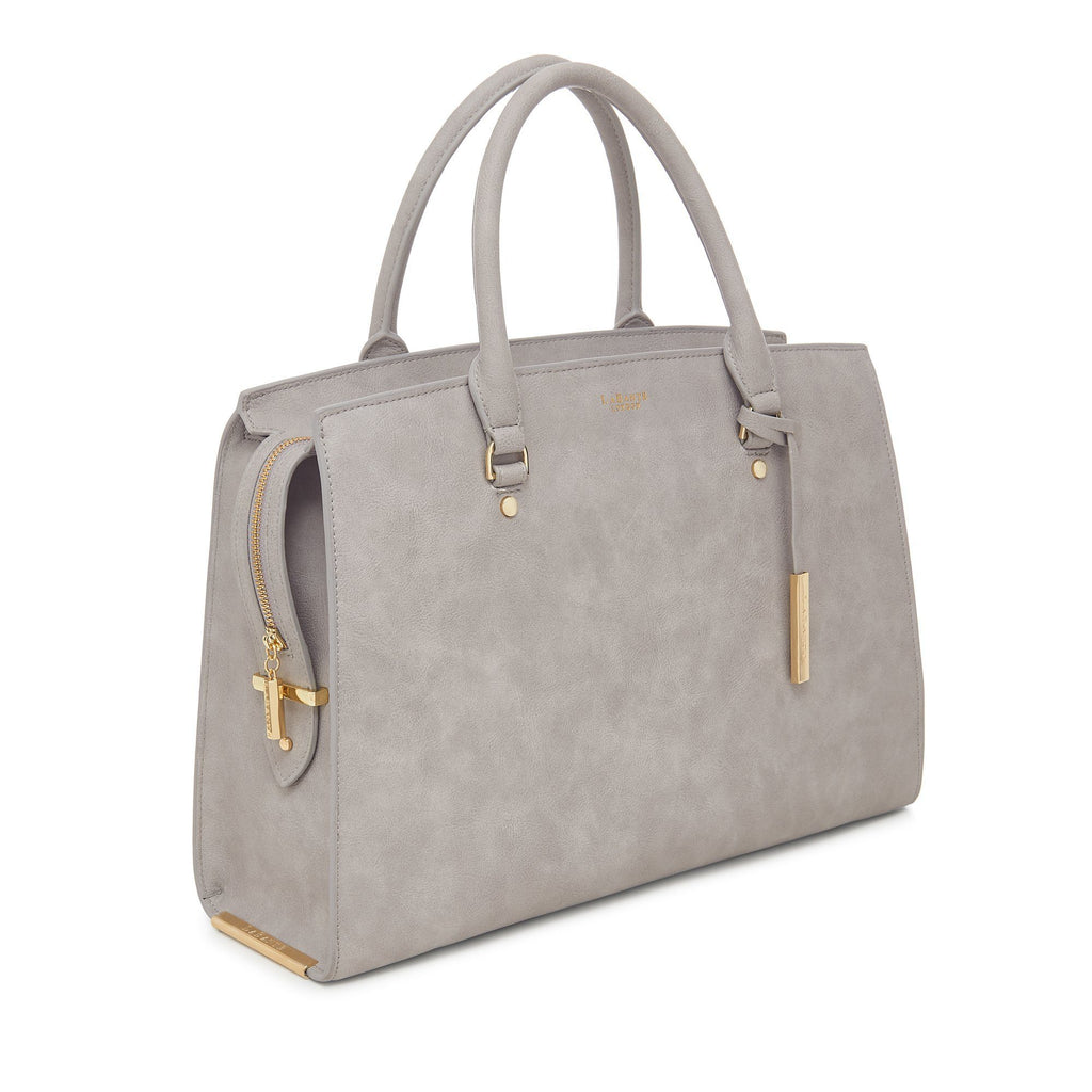 Vegan Carryall Handbag Aricia in Grey by Labante from the side