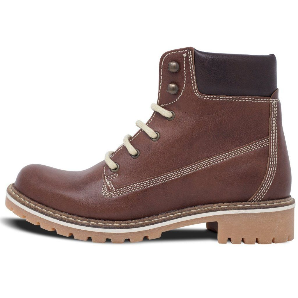 Vegan Dock Boots for Women Chestnut from the left by Will's vegan Shoes