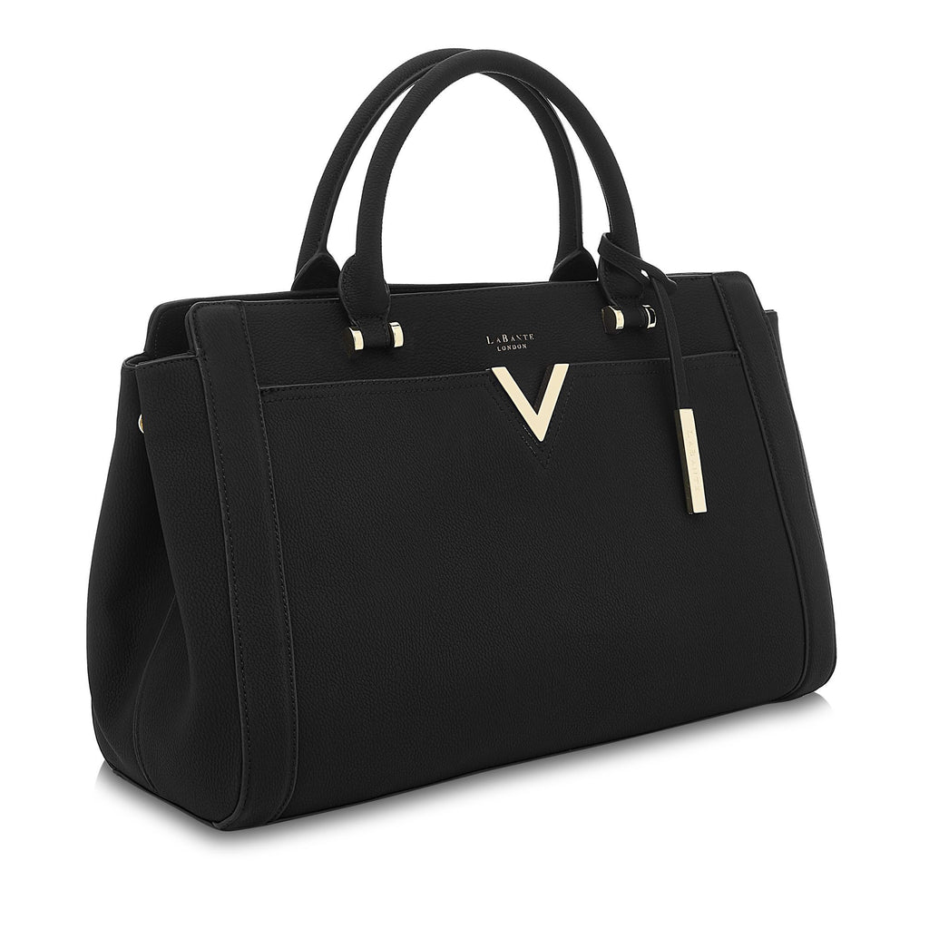 Vegan Handbag Tote Bag Dawson in Black by Labante from the side