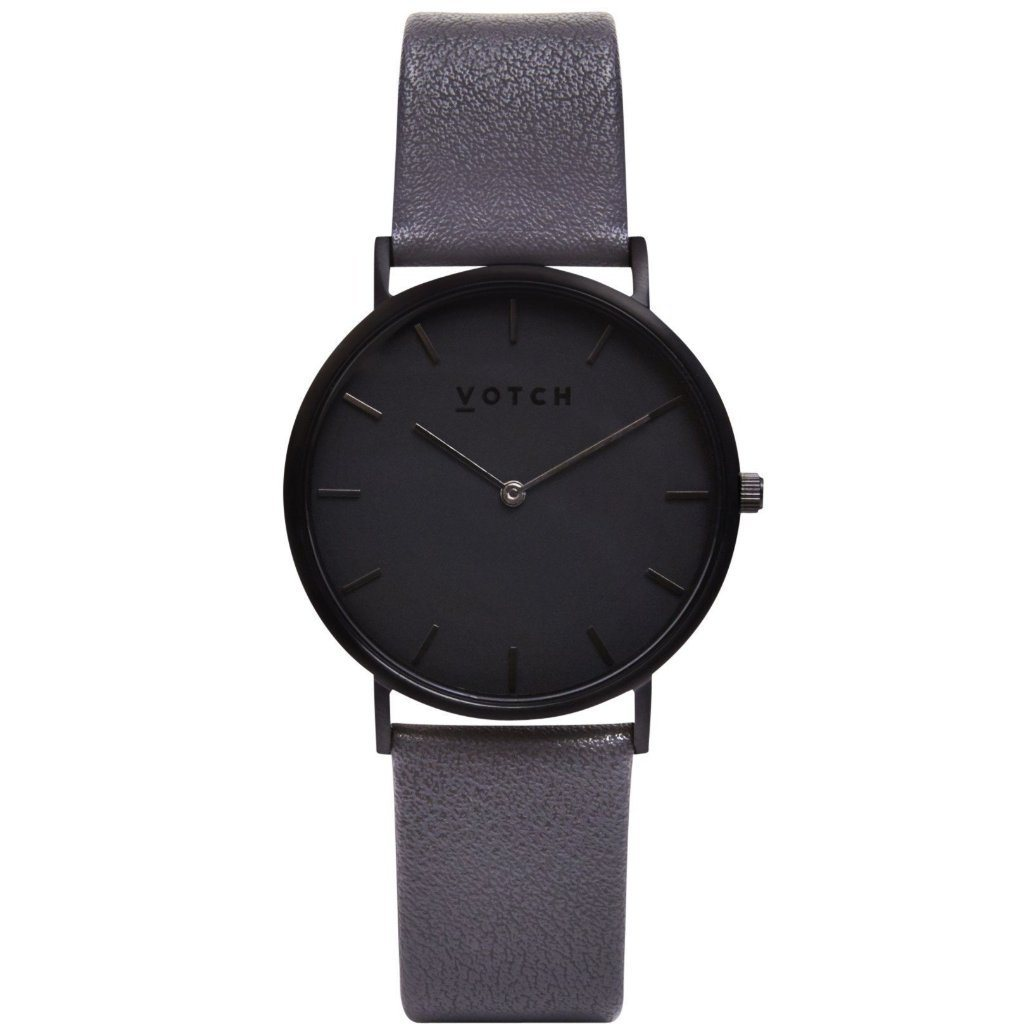 Votch Vegan Leather Watch, Black Strap, Black Dial | ALIVE Boutique