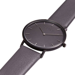 Votch Vegan Leather Watch, with Black Strap, Black Dial