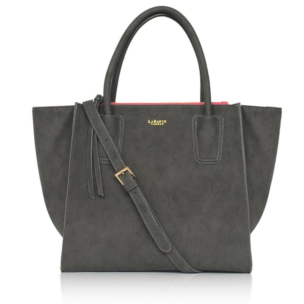 Demi Grey Vegan Shoulder Bag pic from the front with strap by Labante at ALIVE Boutique