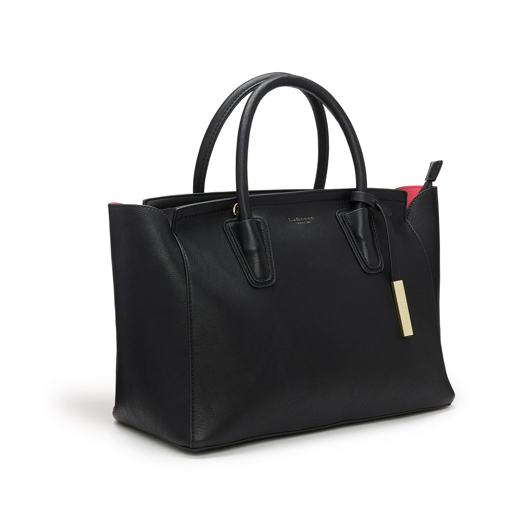 Vegan Tote Bag in Black Grant by Labante London from the side