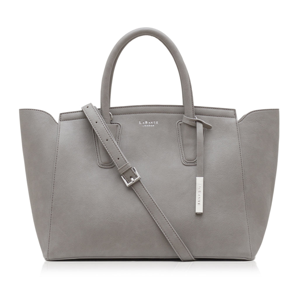 Vegan Tote Bag in Grey Grant by Labante London from the front