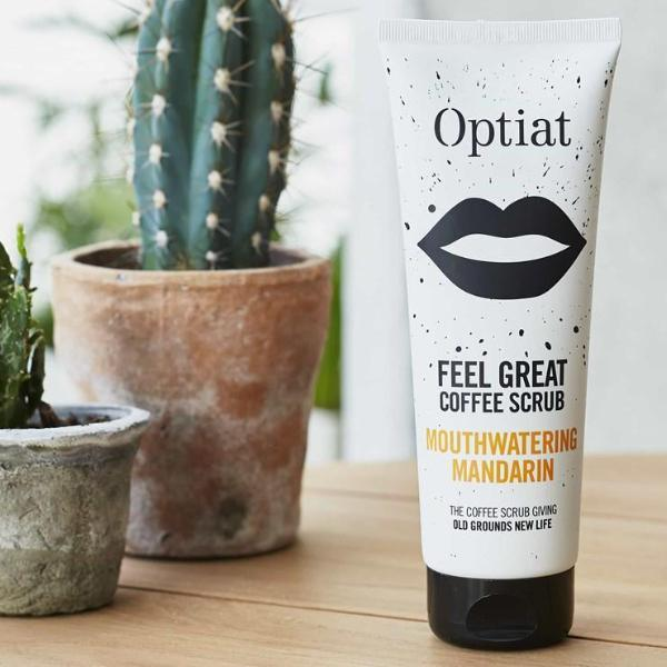 Vegan all body coffee scrub 220g by Optiat lifestyle shot ALIVE Boutique