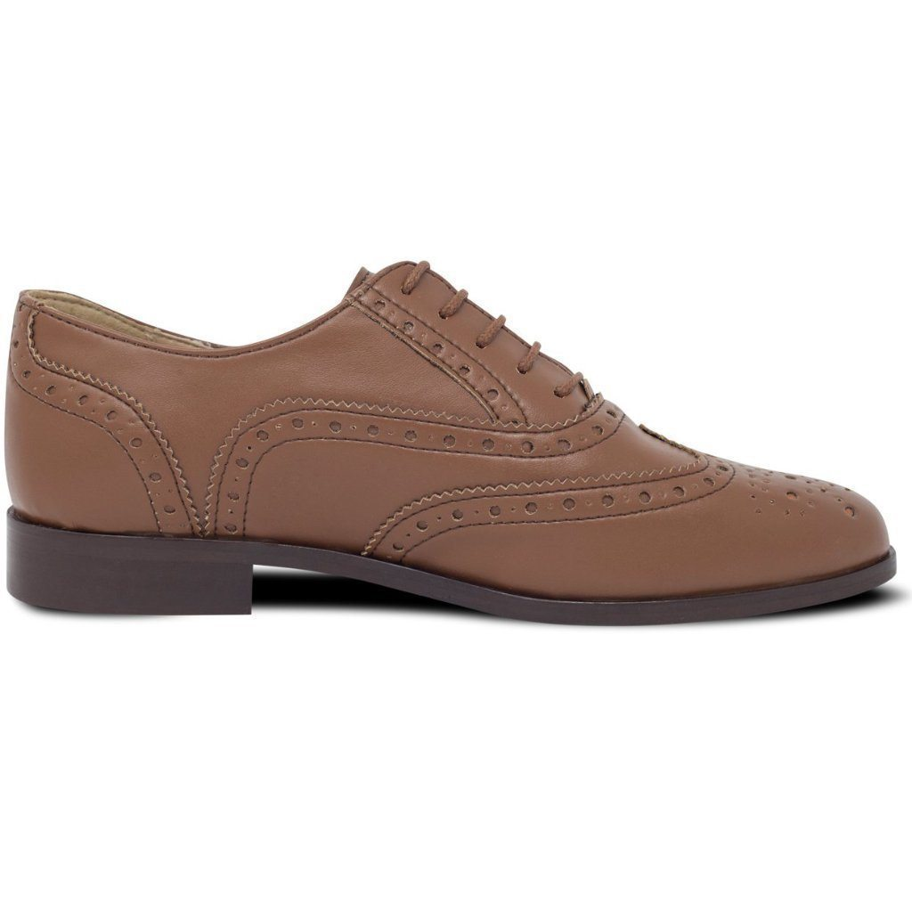 Vegan brogues womens in Tan picture from the right by Will's Vegan Shoes at ALIVE Boutique