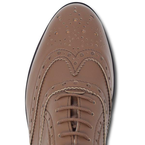 Vegan brogues toecap womens in Tan by Will's Vegan Shoes at ALIVE