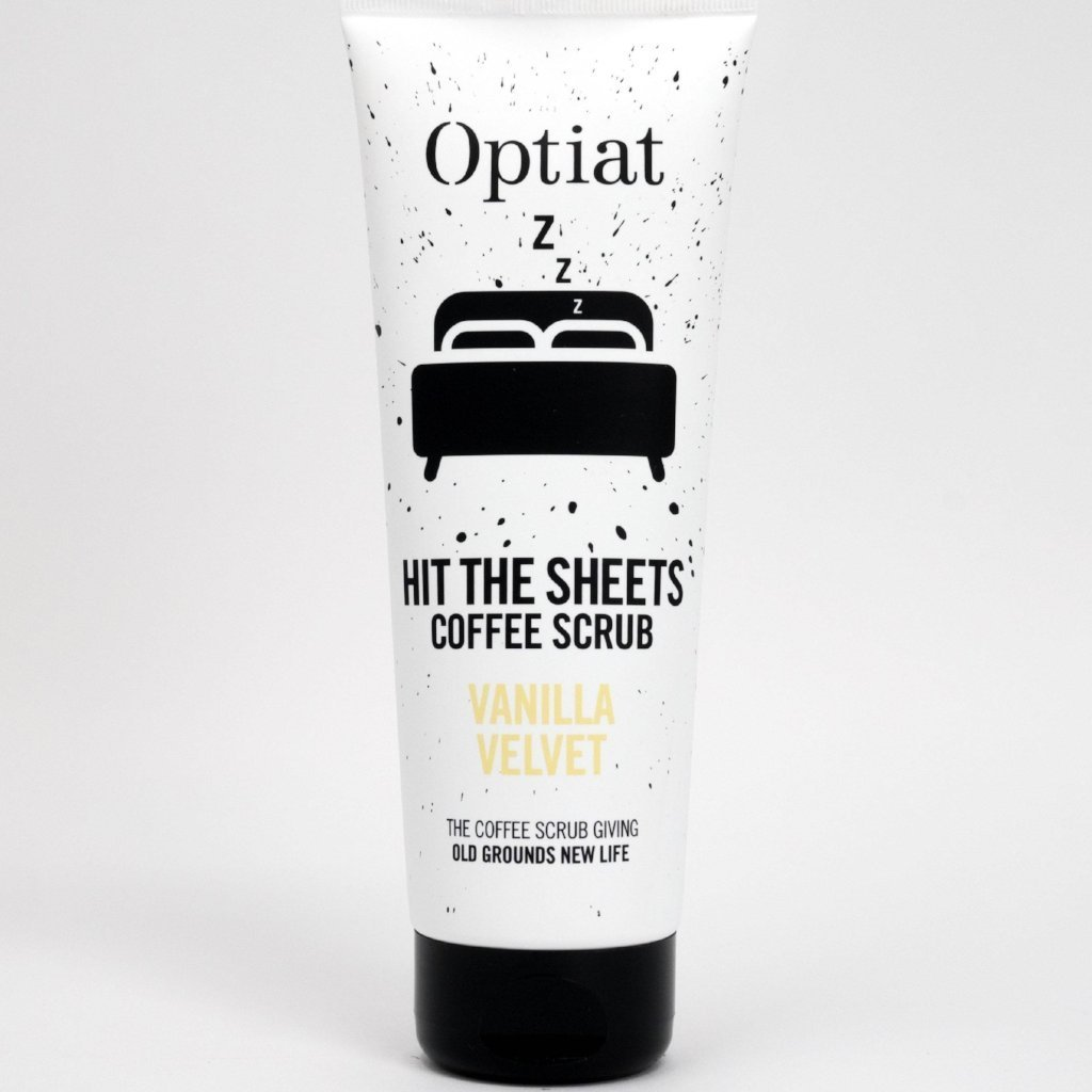 Vegan coffee body scrub 220g by Optiat at ALIVE Boutique