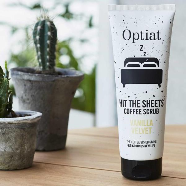 Vegan coffee body scrub 220g lifestyle portrait by Optiat at ALIVE Boutique