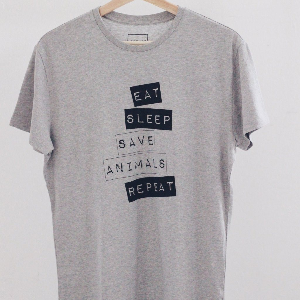 Vegan T-shirt Mens Eat, Sleep, Save Animals, Repeat ALIVE Boutique