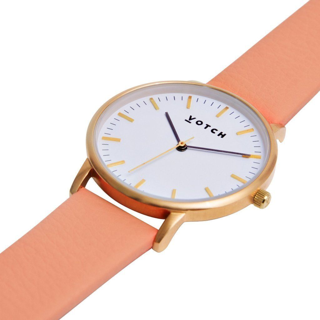 Votch Gold Face Watch, with Coral Strap, New Collection | ALIVE Boutique