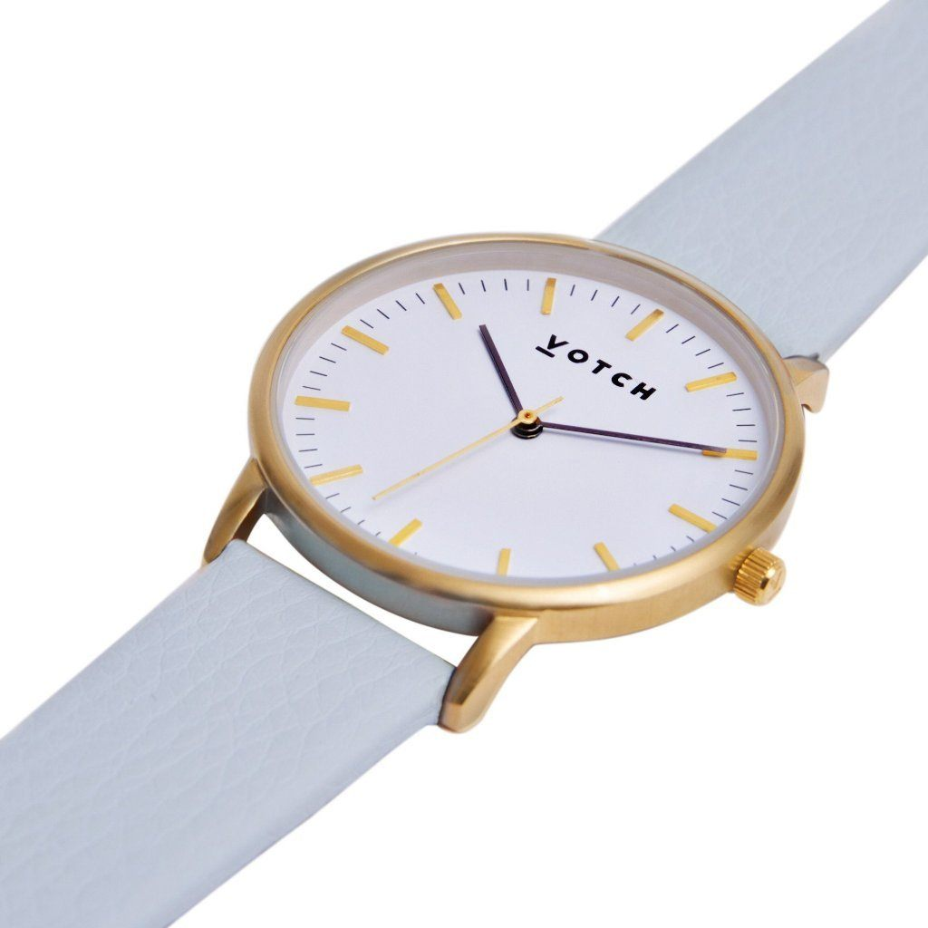 Votch Gold Face Watch, with Light Blue Straps, New Collection | ALIVE Boutique