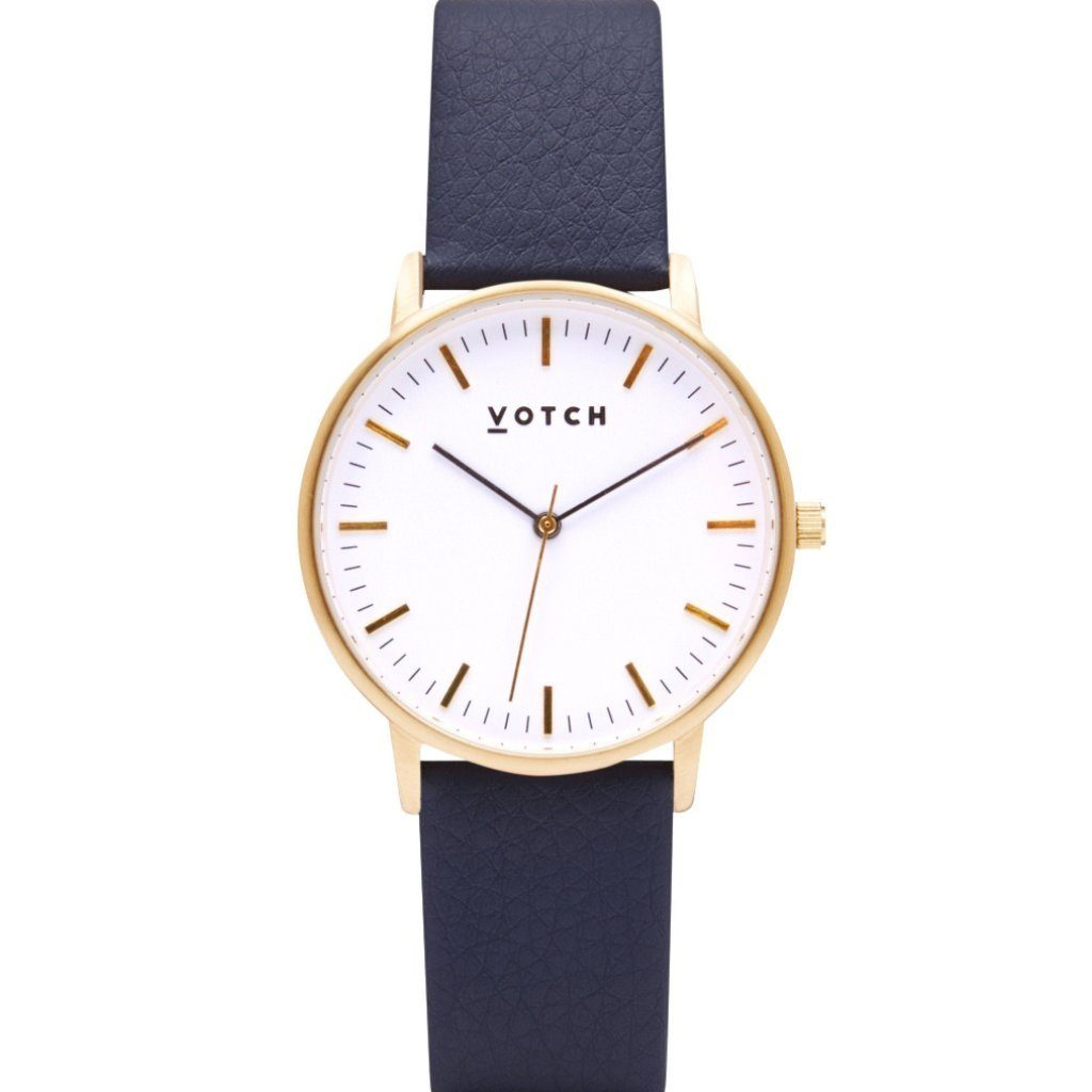 Votch Gold Face Watch, with Navy Strap, New Collection | ALIVE Boutique