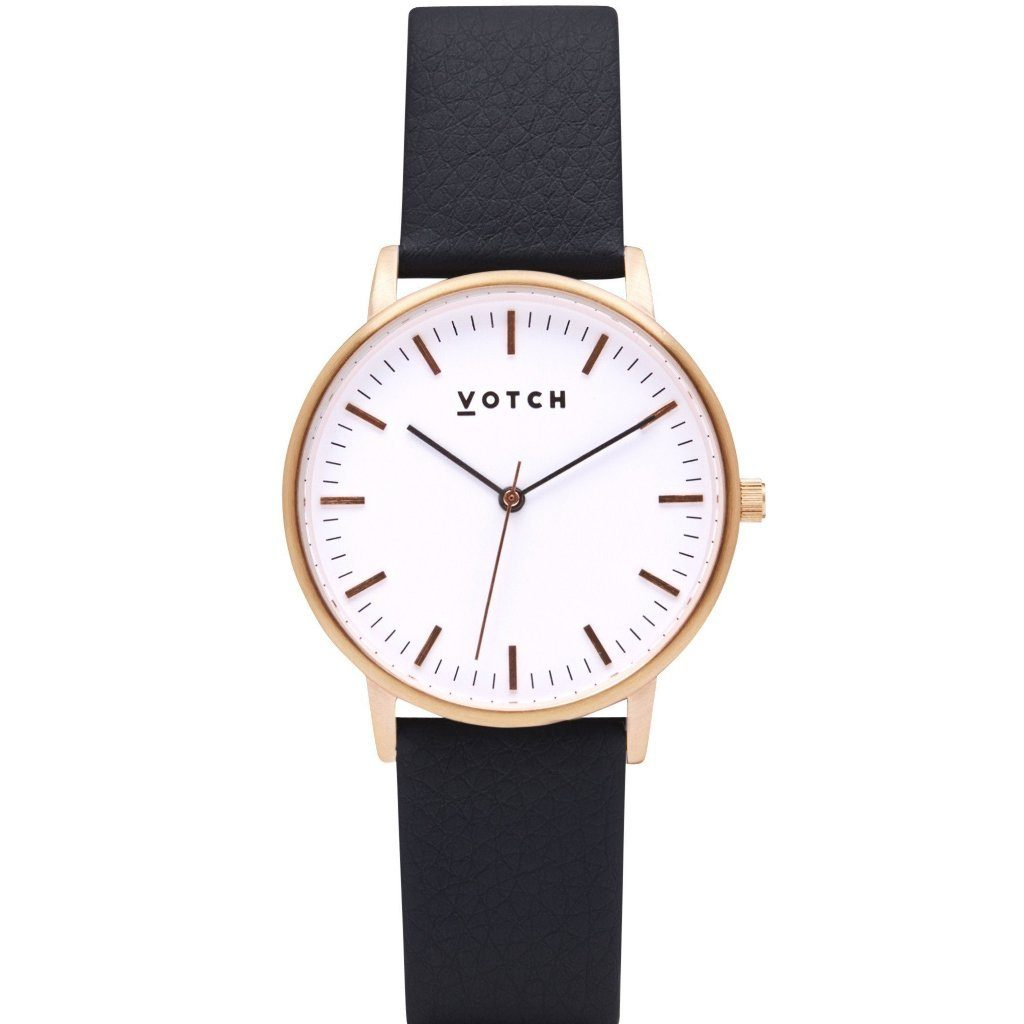 Votch Rose Gold Face Watch, with Black Strap, New Collection | ALIVE Boutique