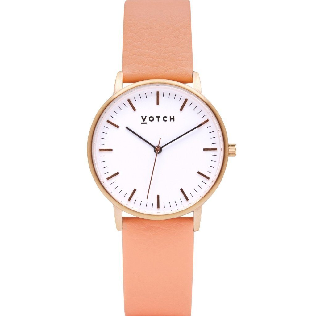 Votch Rose Gold Face Watch with vegan leather, Coral Strap ALIVE Boutique