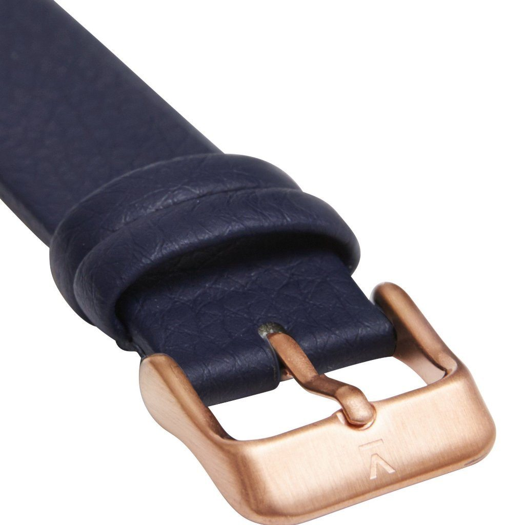 Votch Rose Gold Face vegan leather Watch with Navy Strap ALIVE Boutique