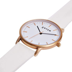 Votch Rose Gold Face vegan leather Watch with Off White Strap New Collection ALIVE Boutique