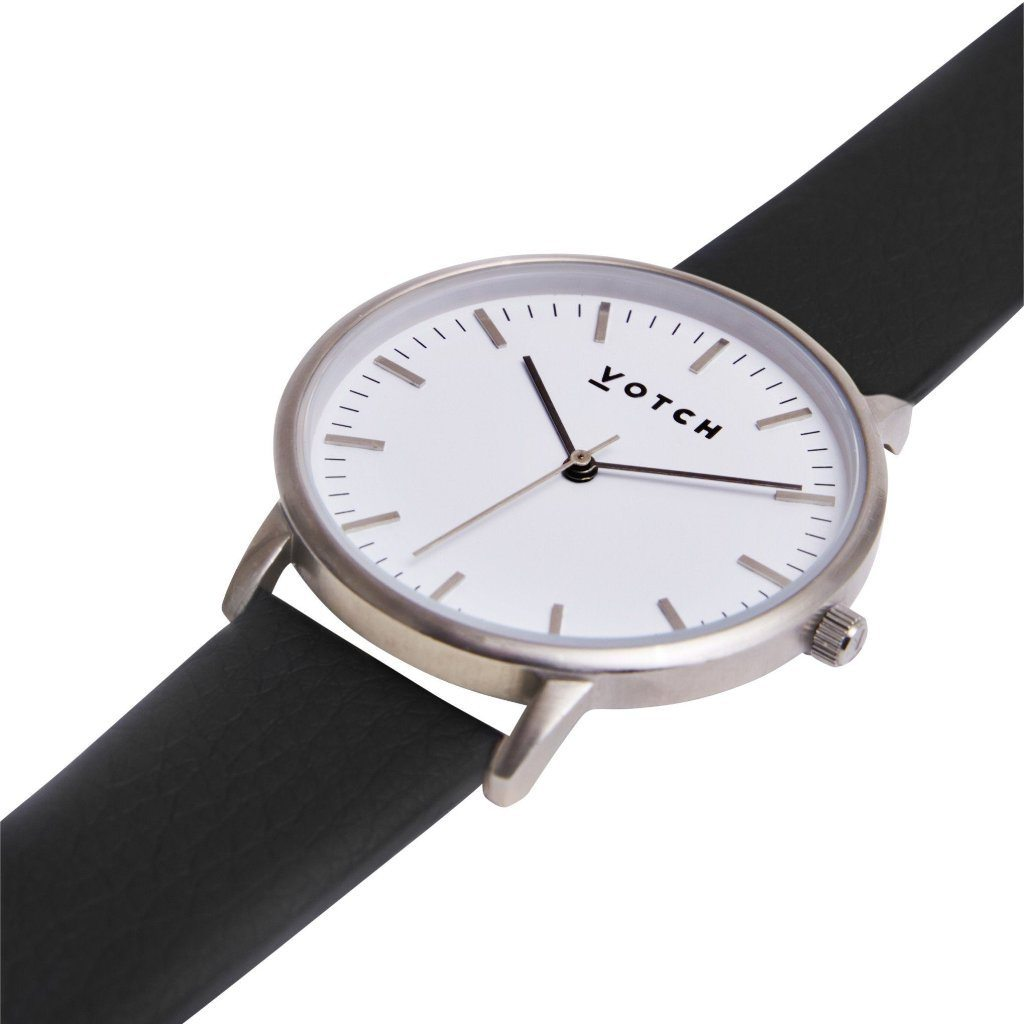 Votch Silver Face Watch, with Black vegan leather Strap New Collection | ALIVE Boutique