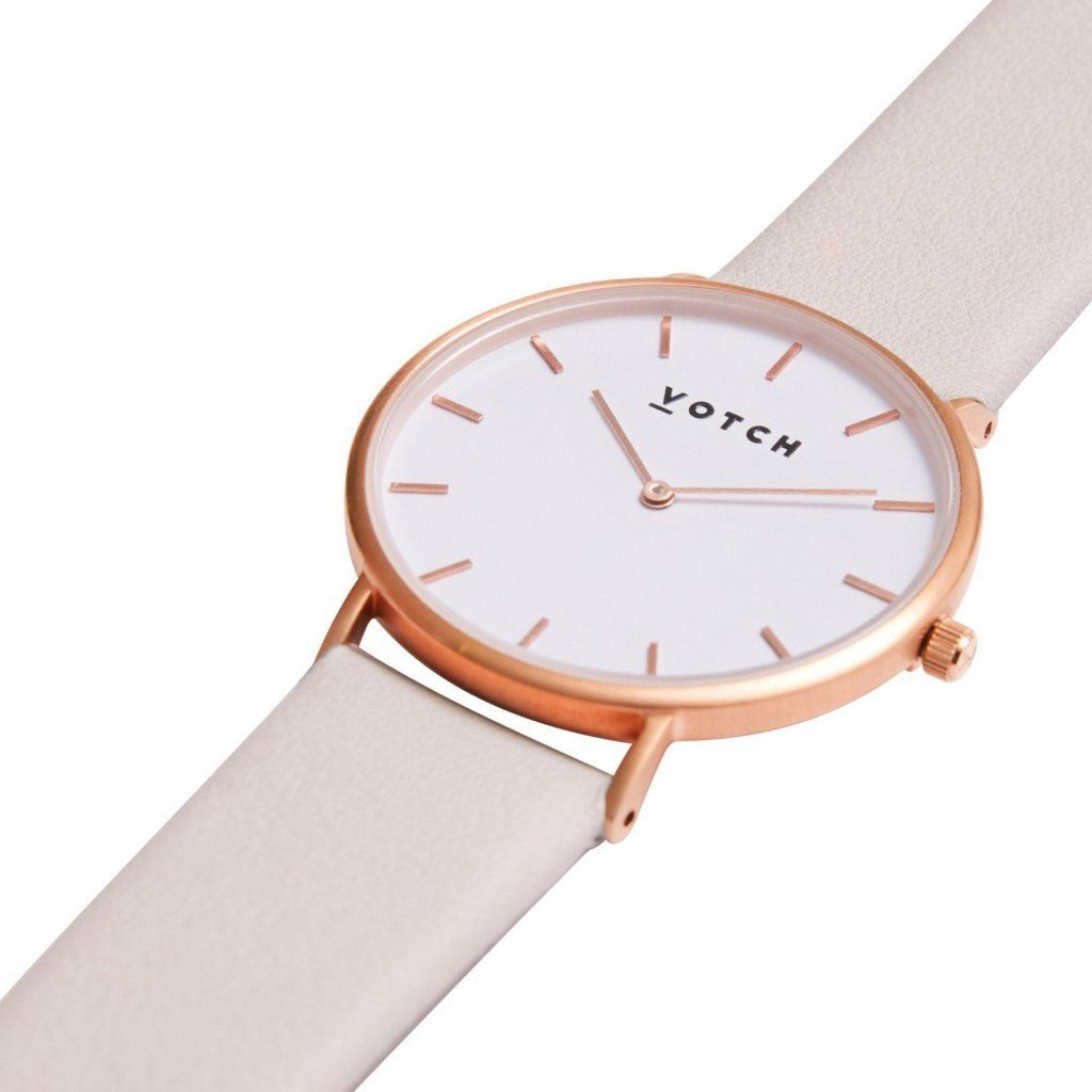 Votch Vegan leather Watch, Light grey, Rose Gold | ALIVE Boutique