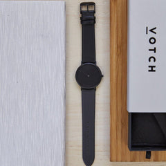 flatlay Votch vegan Leather watch THE DARK GREY ALIVE Boutique