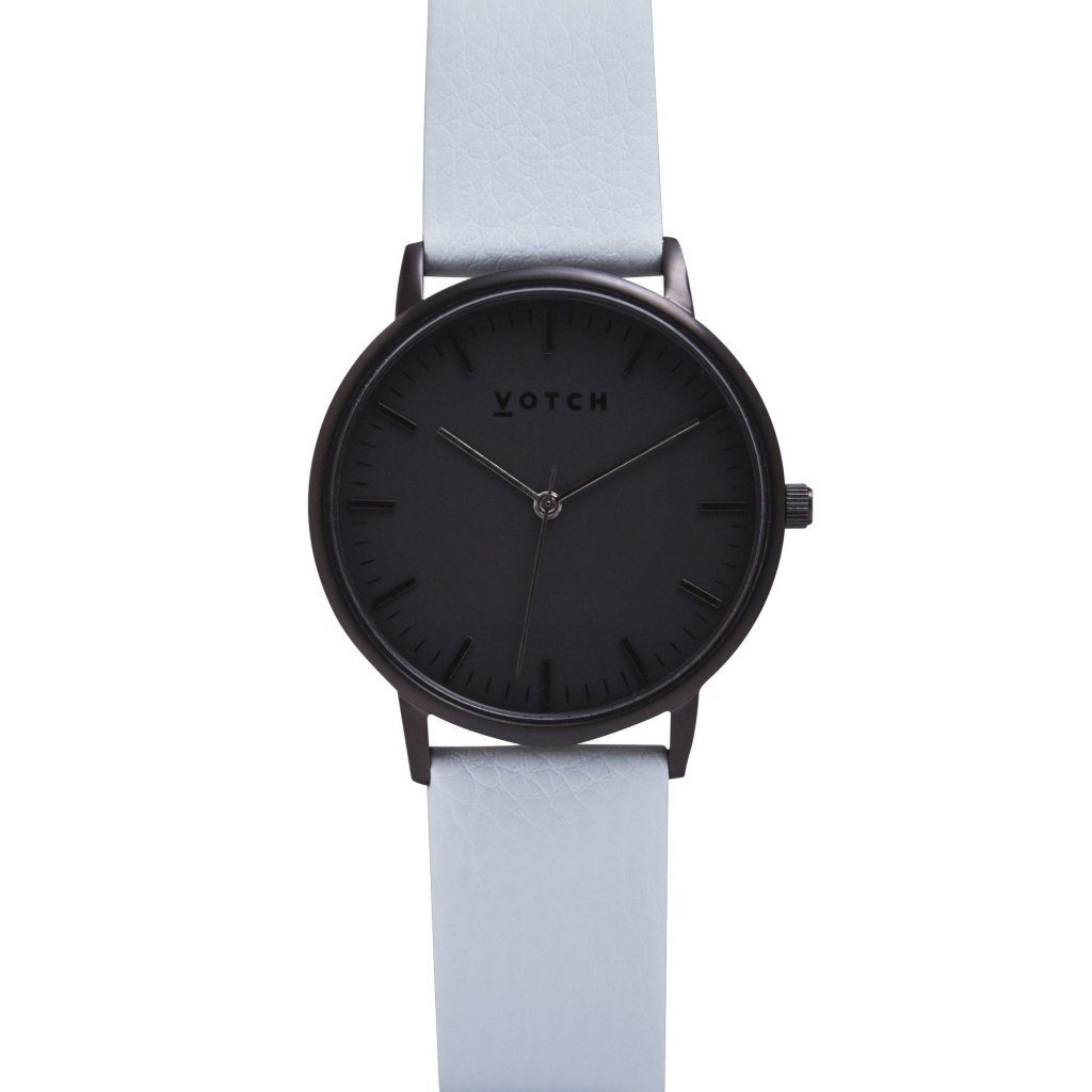 Votch vegan leather strap watch All Black Light Blue Strap ALIVE Boutique