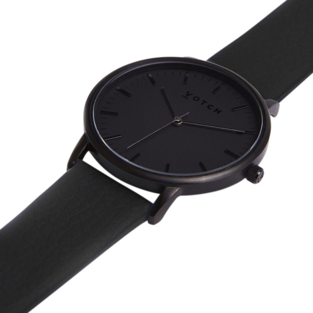 Votch vegan leather watch All Black with Black Strap New Collection ALIVE