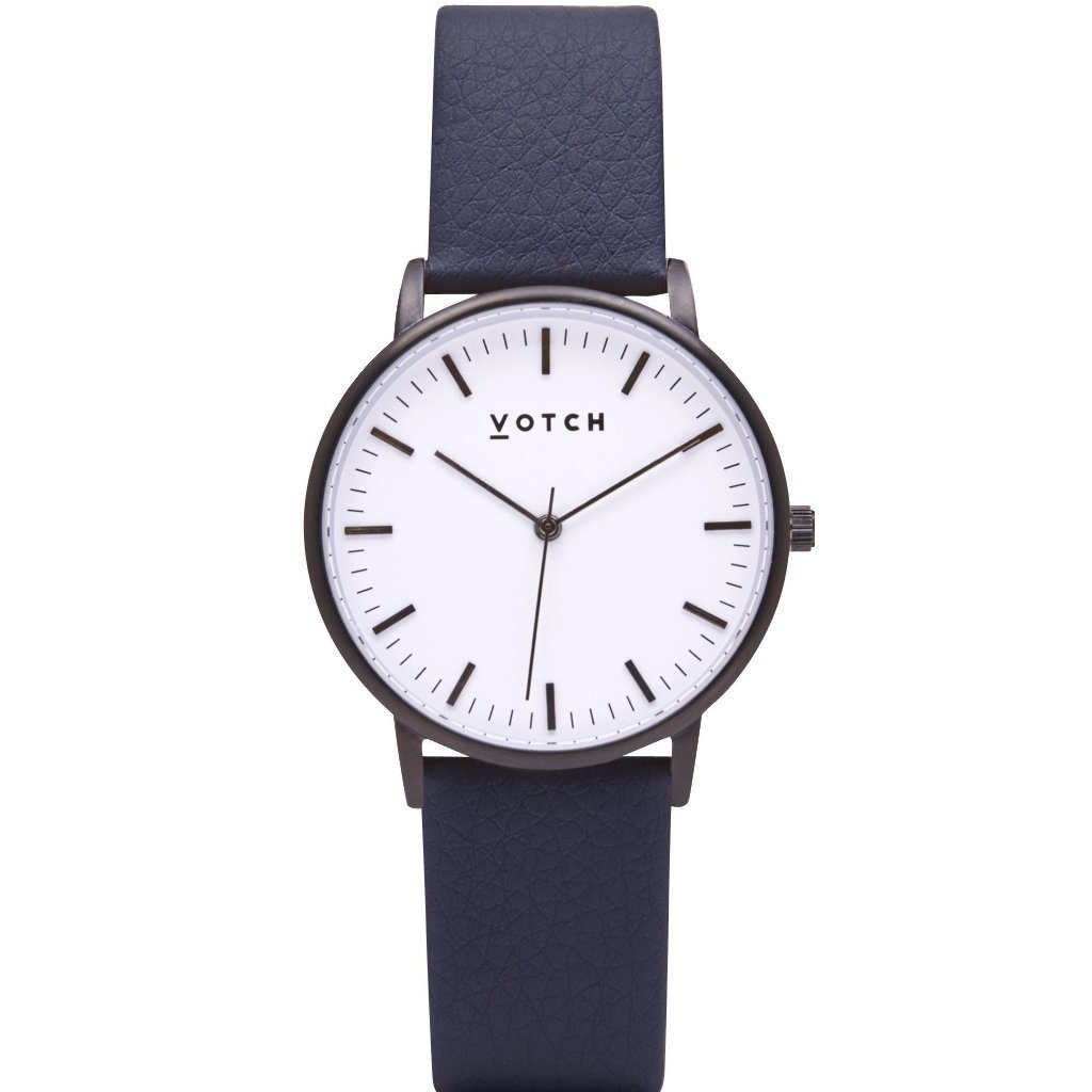 Votch vegan leather watch Black and White Face, Navy Strap, New Collection | ALIVE Boutique