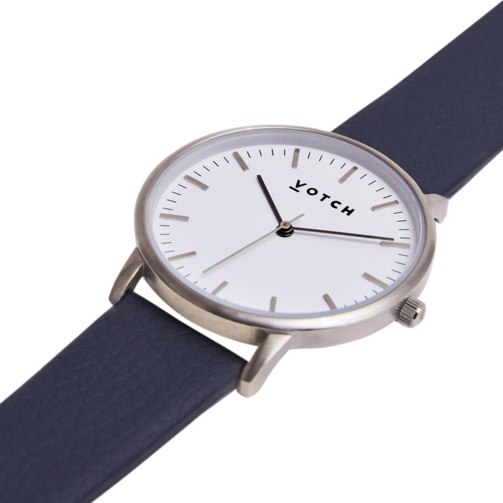 Votch vegan leather watch Silver Face Navy Strap New Collection ALIVE Boutique