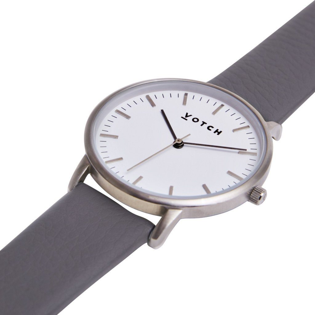 Votch vegan leather watch Silver Face with Slate Grey Strap New Collection ALIVE Boutique