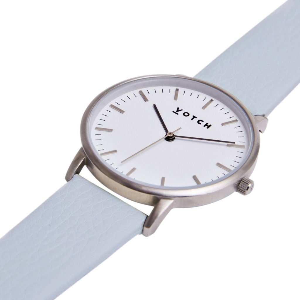Votch vegan leather watch Silver Face with Light Blue Strap, New Collection | ALIVE Boutique