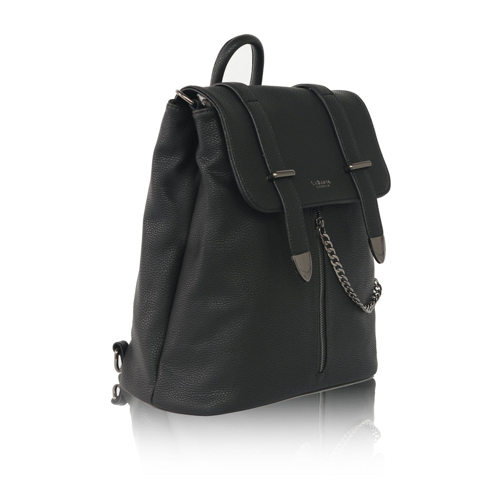 black vegan backpack Agnes pic from the side by Labante at ALIVE Boutique