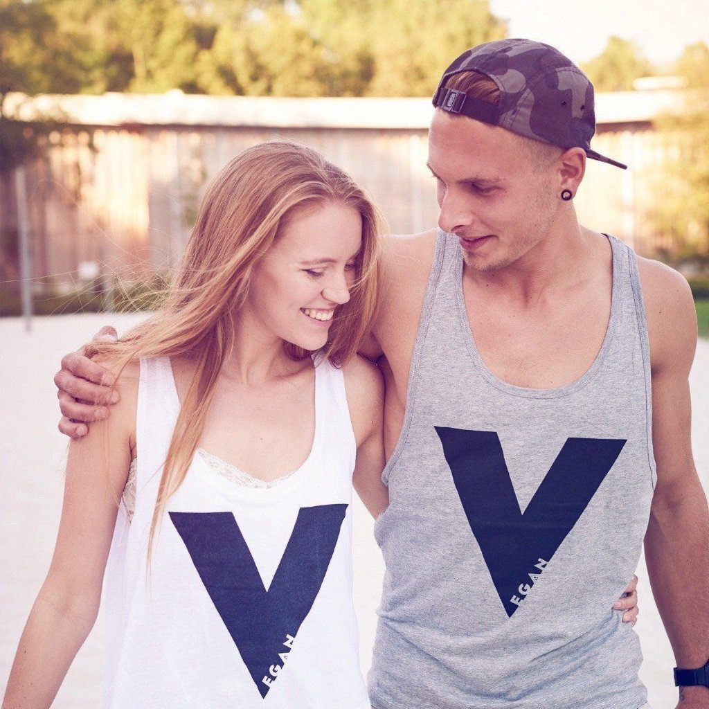 girl and boy wearing vegan Tank tops V For Vegan ALIVE Boutique