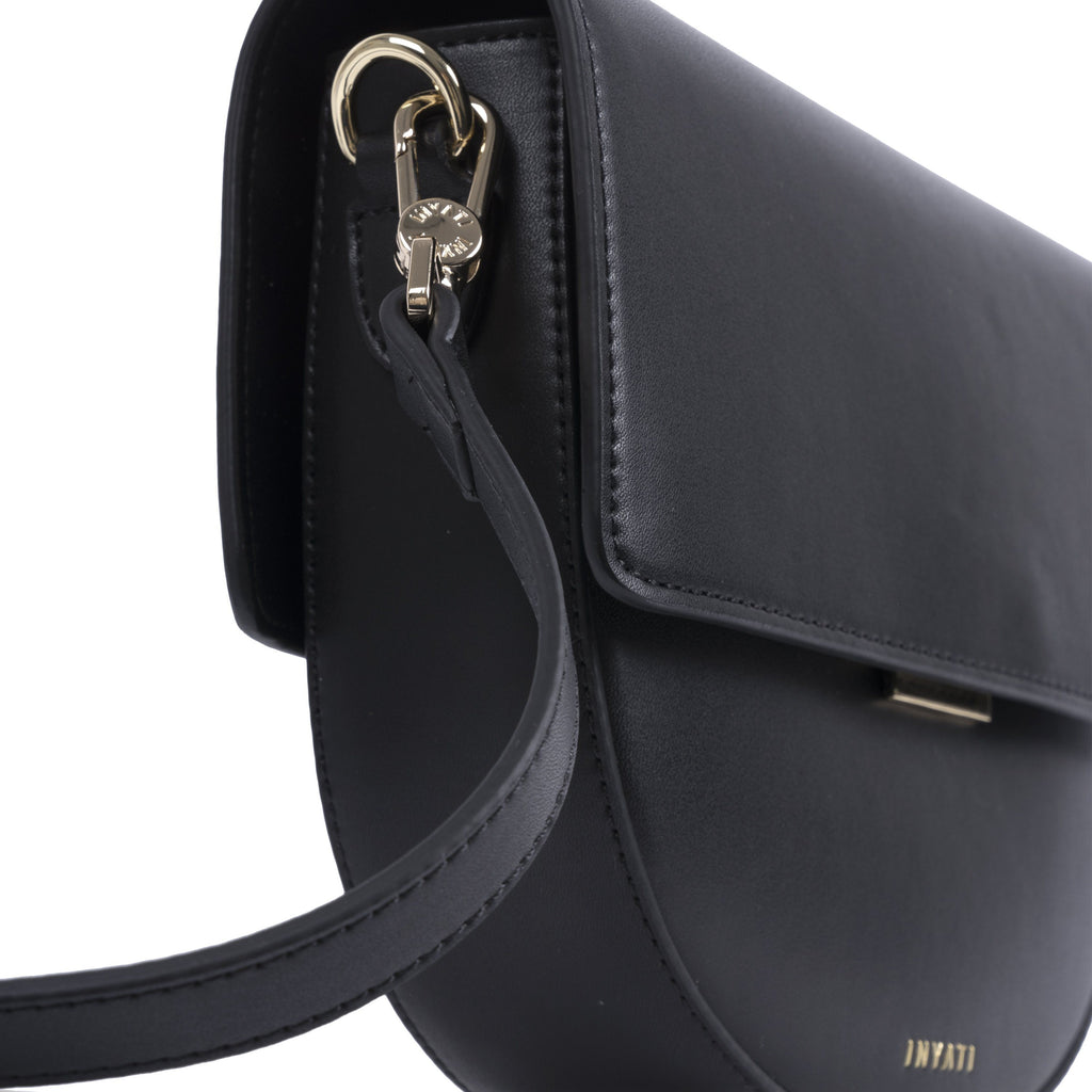 Black Vegan Across Body Handbag - Brooke from the side