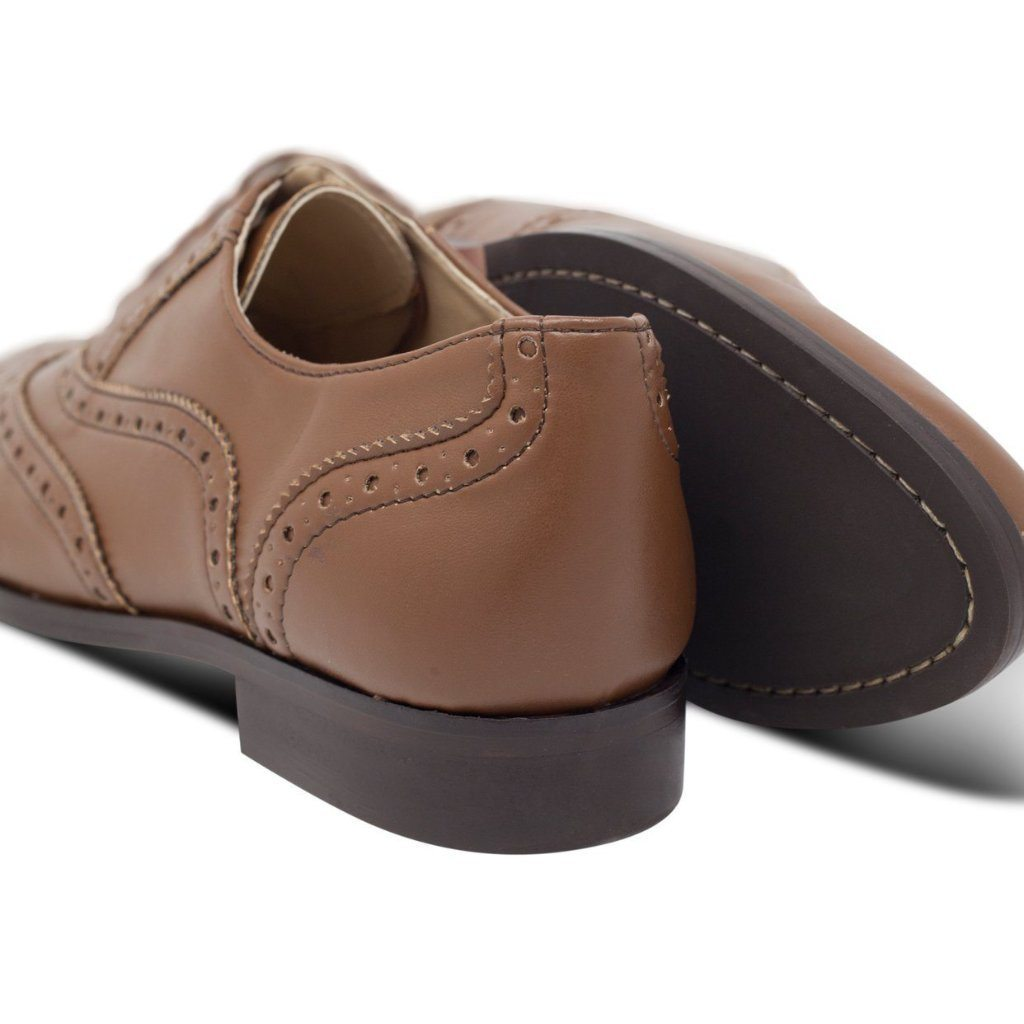 paid of Vegan brogues womens in Tan by Will's Vegan Shoes at ALIVE Boutique