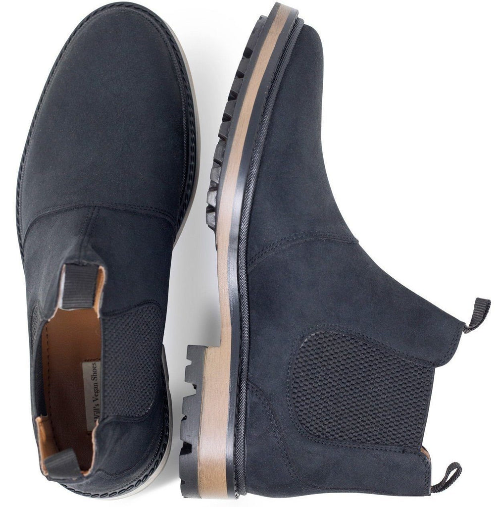 pair of Black Vegan Chelsea Boots Mens Continental picture from above by Will's Vegan Shoes at ALIVE Boutique
