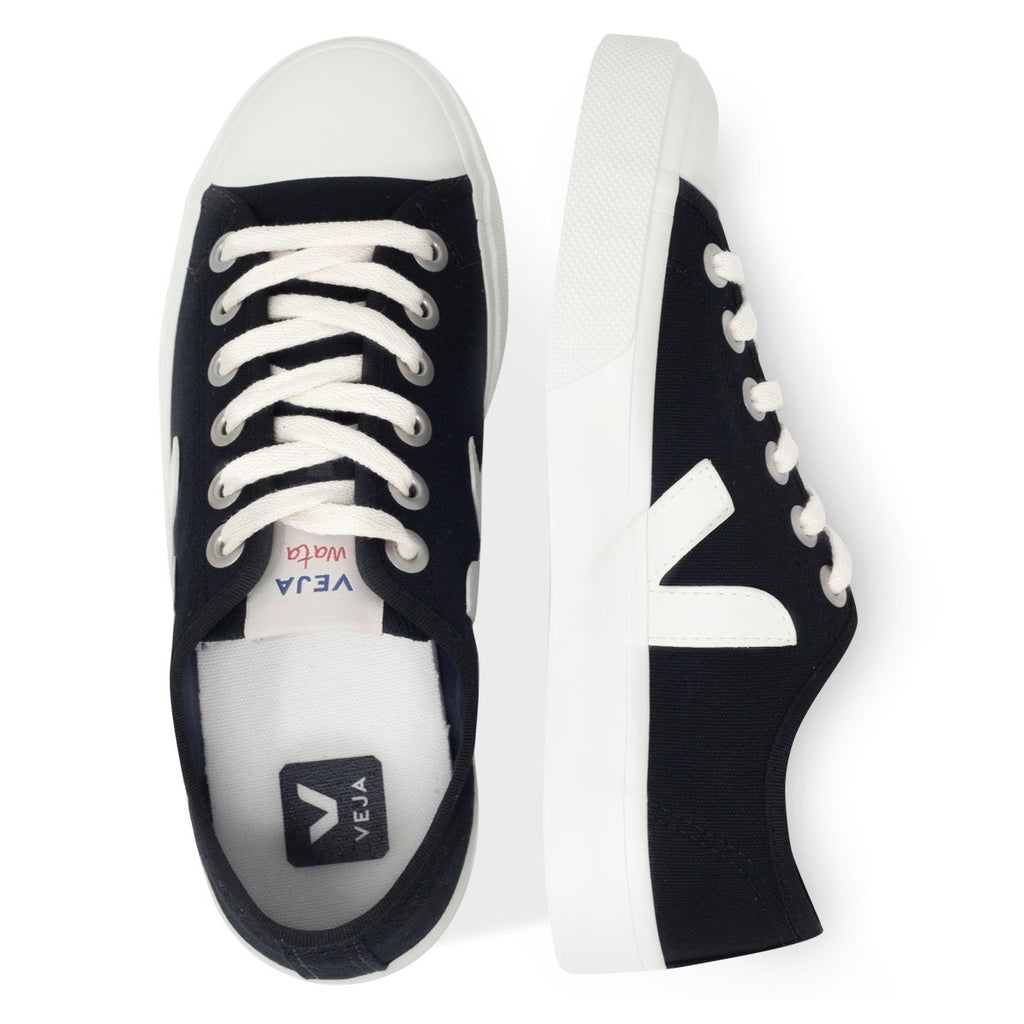 pair of Black Vegan Trainers from above for women Wata Pierre by Veja at ALIVE