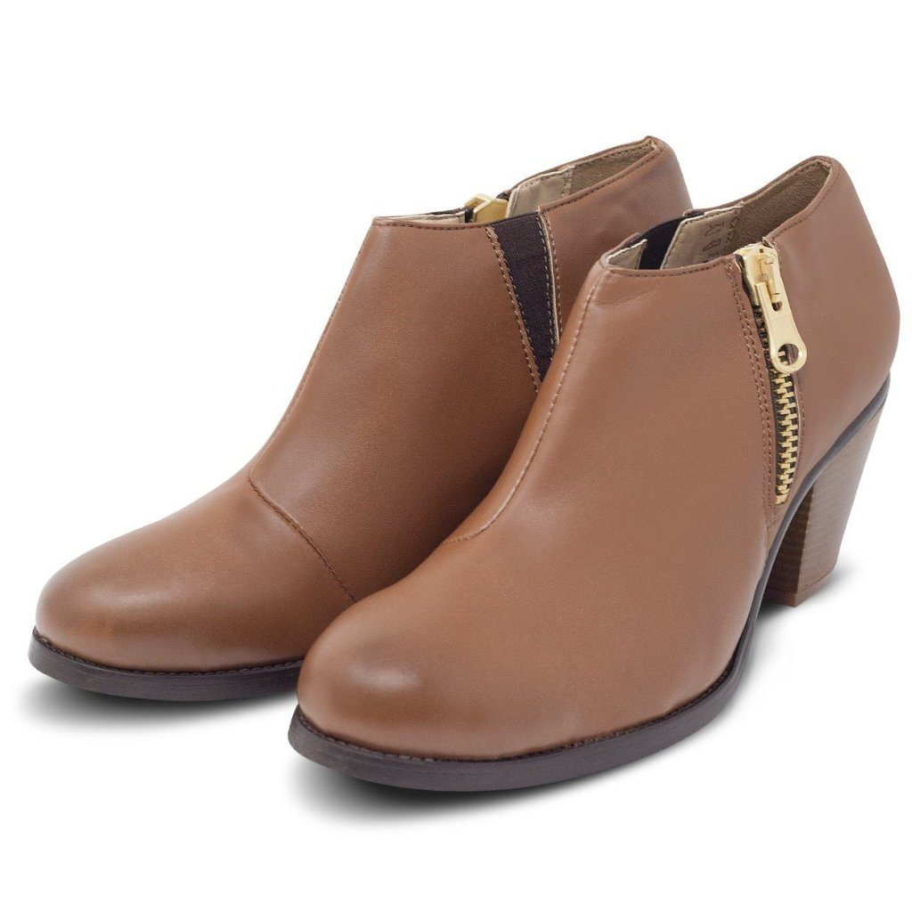 pair of Luxe Heeled Vegan Shoes in Chestnut by Will's Vegan Shoes at ALIVE