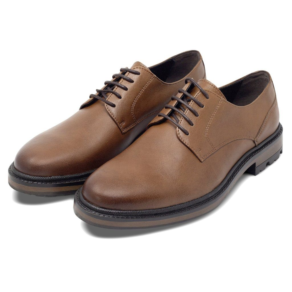 pair of Mens Vegan Shoes Continental Derbies in Tan by Will's Vegan Shoes ALIVE Boutique