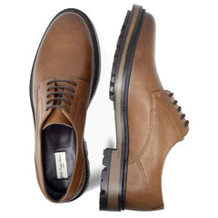 pair of Mens Vegan Shoes Continental Derbies in Tan picture from above by Will's Vegan Shoes ALIVE Boutique