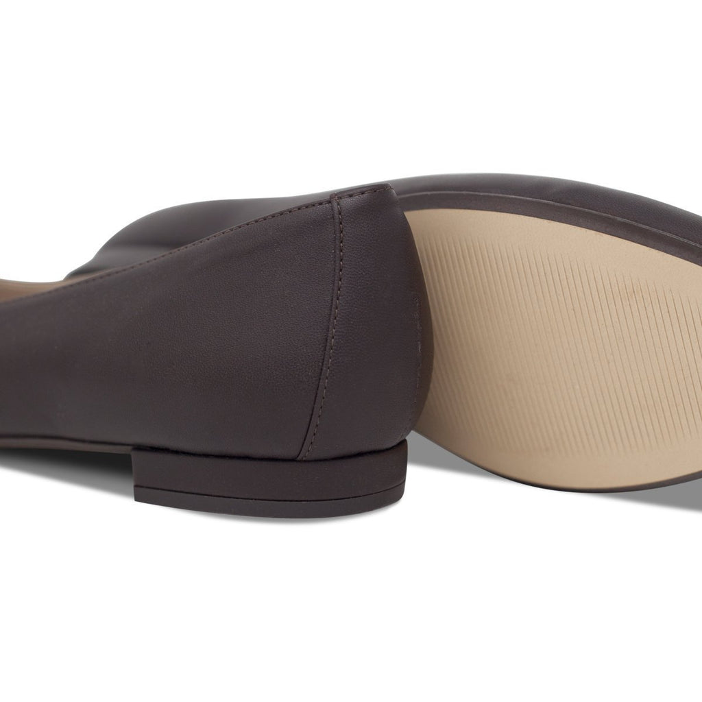 pair of Vegan Ballerina Flats in dark brown and light brown sole by wills vegan shoes