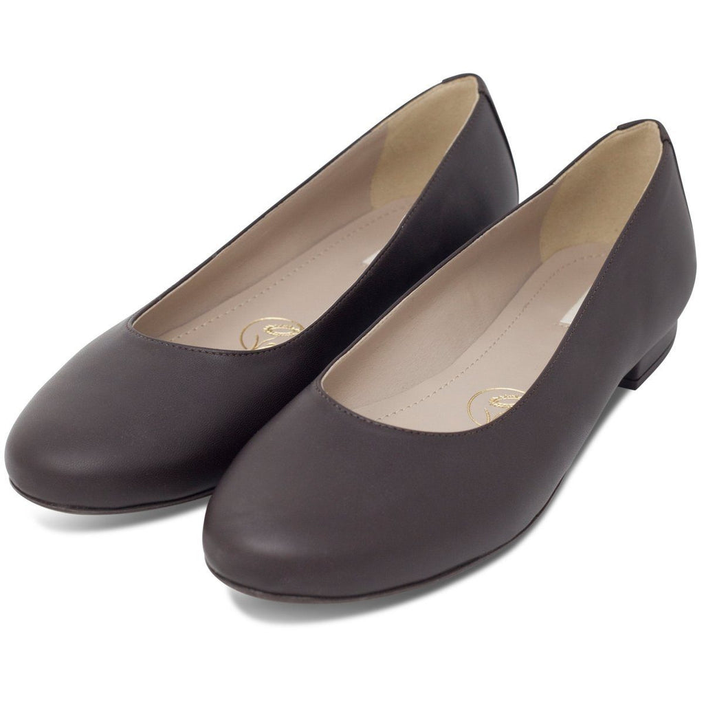 pair of Vegan Ballerina Flats in dark brown by wills vegan shoes at ALIVE