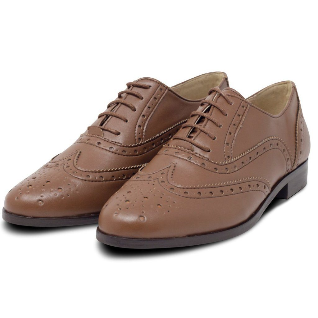 pair of Vegan brogues womens in Tan by Will's Vegan Shoes at ALIVE Boutique