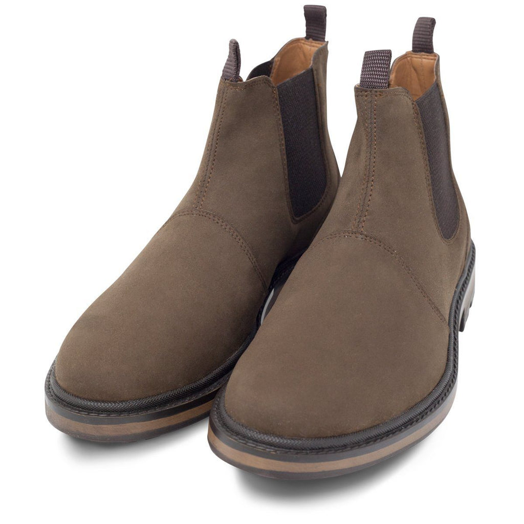 pair of men's vegan shoes Continental Chelsea Boots in Dark Brown at ALIVE